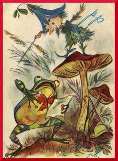 Jan Marcin Szancer - żaba  i grzyb na starej pocztówce z PRL , frog and mushroom fairy tale characters, Pilze und Frosch aus einem Märchen