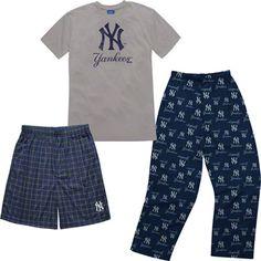 New York Yankees Youth Adidas T-Shirt Boxer & Pant 3 Piece Sleep Set