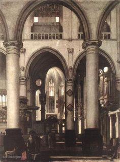 """Painting """"Interieur van een kerk"""" by Emanuel de Witte - www.schilderijen.nu"""