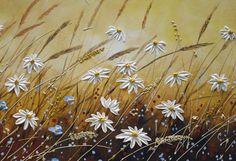 Original de arte Daisy pintura campo de flores por NataSgallery