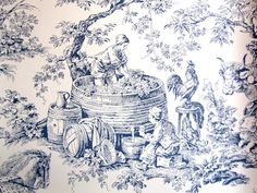 Wallpaper Toile Blue and White Winemaking Large by ArtistMuse, $2.50 Toile Wallpaper, French Fabric, Paper Cutting, Shabby Chic, Heaven, Fabrics, Blue And White, Printables, Touch