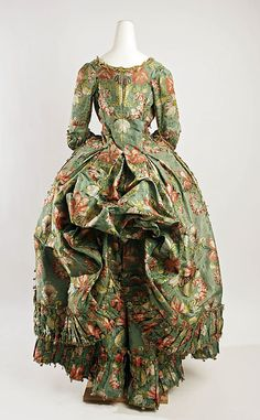 Rear view of Robe à la Polonaise, 1774–93, French, silk. See closer detail at 18th Century Fashion A Closer Look: http://pinterest.com/pin/278589926920863434/