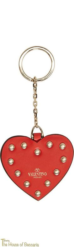 ~Valentino Red Leather & Gold Rockstud Heart Key chain | House of Beccaria#