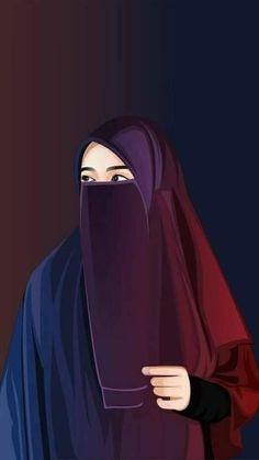 Gambar Kartun Muslimah Bercadar Pakaian Syari Islam Pinterest
