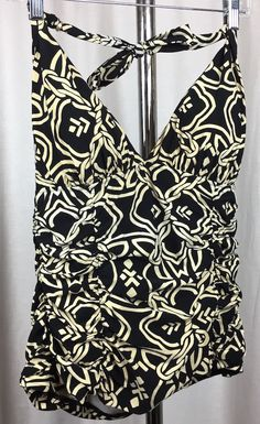 Womens Tankini Top. Fully Ruched. Halter Top. Black with Ivory. Land's End. Measurements are taken with garment lying flat and unstretched. | eBay!