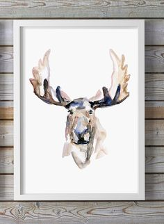 Moose Watercolor painting - Giclee art print - Moose painting Watercolour Animal Painting Antler aquarelle Zen painting by Zendrawing on Etsy https://www.etsy.com/listing/195840513/moose-watercolor-painting-giclee-art