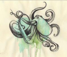 Amazing Octopus watercolor