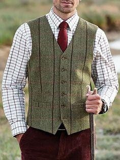 British Style Check V Neck Slim Vest – ebuychic Elegant Man, England Fashion, Men Online, Collar Dress, British Style, Vintage Men, Amazing Women, Color Blocking, Men Casual