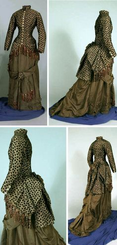 Winter reception dress, 1880. Multi-colored jacket with black velvet floral pattern. Closes with 14 hand-painted bone buttons; 3-button closure on sleeves. Small bustle with poofs,  drapes, & green bow. Bottom edge has fringe with bow pattern. Brown polished cotton lining; interior belt. Green silk skirt with medium train. Flare at back of train over layer of ruffle-edged silk. Loose drapes & 2 layers of green silk ruffles. Kentucky Historical Society