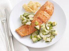 Soy glazed salmon with cucumber alvacado salad