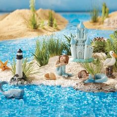 Once Upon A Garden™ Miniature Mermaid Garden Set, - Christmas Tree Shops and That! - Home Decor, Furniture Gifts Store Beach Fairy Garden, Fairy Garden Houses, Gnome Garden, Fairy Gardening, Fairies Garden, Mermaid Fairy, Fairy Doors, Miniature Fairy Gardens, Garden Terrarium