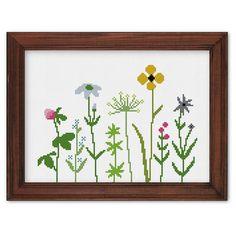 Wildflowers cross stitch pattern modern cross by ThuHaDesign