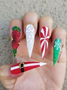 36 beautiful and stylish christmas stiletto nail art designs xmas nails, get nails, holiday Cute Christmas Nails, Christmas Nail Art Designs, Holiday Nail Art, Xmas Nails, Get Nails, Aycrlic Nails, Hair And Nails, Simple Christmas, Beautiful Christmas