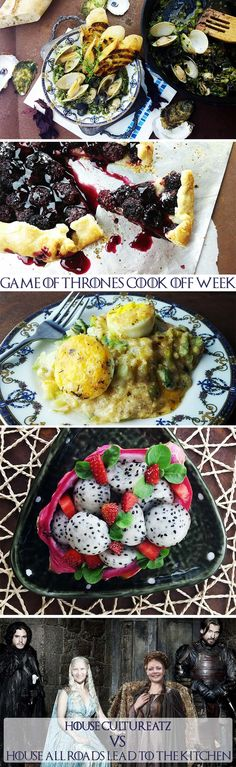 Game of Thrones Recipe Roundup A #GameofThrones epic food battle recipe round up! I have been posting recipes all week inspired by the series. Check them all out here http://cultureatz.com/tag/game-of-thrones