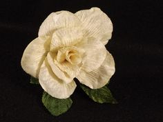 New Velvet 3 Inch CREAM Rose Green Velvet Leaves, Millinery Flower Crown Bridal Wedding Corsages Boutineers Bouquets Crafts - pinned by pin4etsy.com
