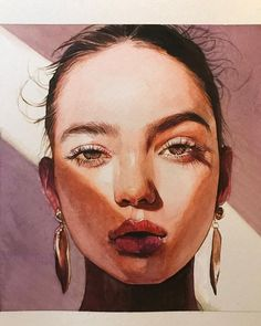 portrait drawing creative Watercolor painting of model Inka Williams by artist Reina Yamada Inka Williams, Photographie Portrait Inspiration, Arte Sketchbook, Watercolor Portraits, Acrylic Portrait Painting, Watercolor Portrait Tutorial, Acrylic Art, Portrait Art, Portrait Ideas
