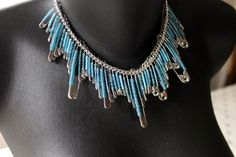 Sky Blue Beaded Safety Pin Collar Necklace