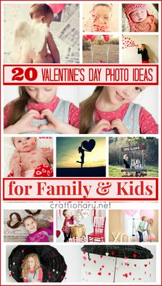 Valentines day photo ideas for kids and family. Cute and adorable photography shoots using backgrounds, props of kisses, love, hearts, cupid baby, balloons.