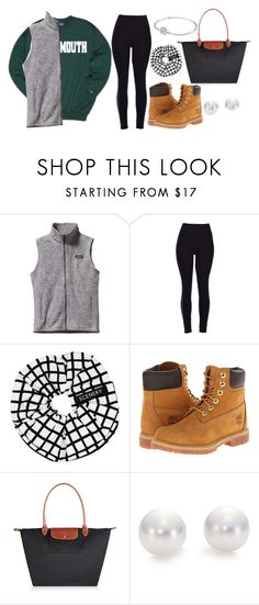 """""""DARTMOUTH"""" by go1df1sh ❤ liked on Polyvore featuring Patagonia, SCENERY, Timberland, Longchamp, Mikimoto and Pandora"""