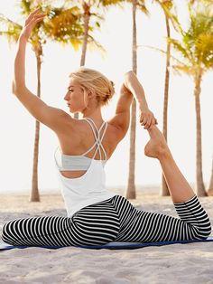 Athleta Mesh Energuze Tank Top | Athleta Stripes Chaturanga Capri Yoga Pants #yoga @ http://www.FitnessApparelExpress.com