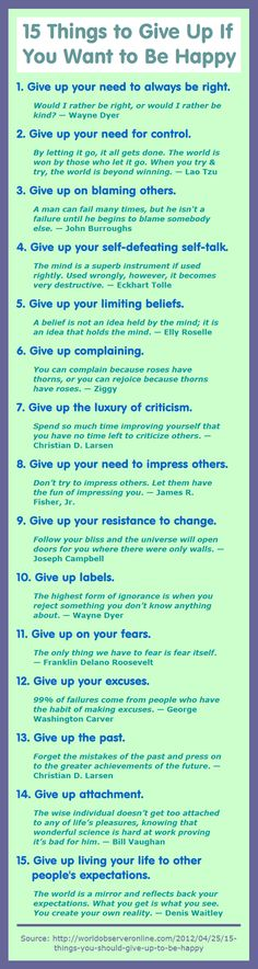 15 Things to Give Up If You Want to Be Happy. 1. Give up your need to always be right. Would I rather be right, or would I rather be kind? — Wayne Dyer - - - 2. Give up your need for control. By letting it go, it all gets done. The world is won by those who let it go. When you try & try, the world is beyond winning. — Lao Tzu