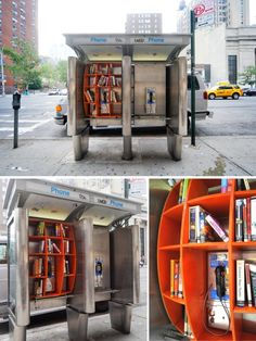 "thedailywhat: Street Art of the Day: A New York City phone booth repurposed as a ""communal library""/book drop by architect John Locke as part of his ongoing urban intervention project, the Department of Urban Betterment. Little Free Libraries, Little Library, Mini Library, Street Library, Urban Furniture, Kids Furniture, Furniture Cleaning, Luxury Furniture, Urban Intervention"