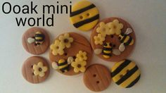 polymer clay buttons bee design set of 7 hand made one of a kind great for sculpt cardie cards crafts