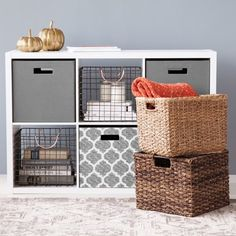 Large Wire Milk Crate With Copper Handles - Threshold™ - image 5 of 9 Milk Crate Shelves, Crate Bookcase, Milk Crates, Wire Storage, Storage Bins, Cube Storage Baskets, Storage Ideas, Storage Solutions, Ikea Cube Shelves
