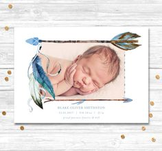 Tribal invitation Birth Announcement baby boy baby by MotifVisuals