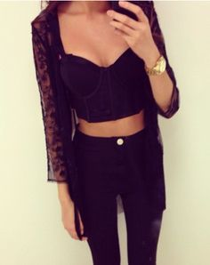 cropped bralet // sheer flock kimono // black high waisted jean