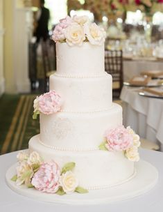 wedding cakes with real yellow roses   ... Wedding+Cakes+CT+White+Wedding+Cake+with+Pink+Peonies+Yellow+Roses