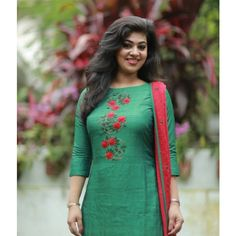 Green Tussar Suit with Floral Embroidery Indian salwar kamees Click VISIT link above to see Salwar Suit Neck Designs, Neck Designs For Suits, Kurta Neck Design, Salwar Designs, Dress Neck Designs, Kurta Designs Women, Kurti Designs Party Wear, Blouse Designs, Embroidery On Kurtis