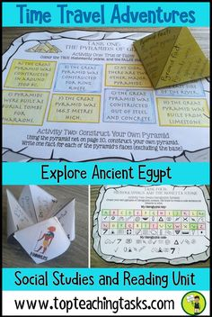 Ancient Egypt Reading and Social Studies Resource. Take your students on the adventure of a lifetime! Kids complete activities and collect golden coins to power up their time machine and get home! These include reading comprehension strategies: summarizing, synthesizing, creating, visualizing. Learn about the pyramids, Great Sphinx, Tutankhamun's tomb, Pharaohs and Gods and the River Nile. #AncientEgypt #Reading #Activities Grade Four, Grade Five, Year Four, Year Five, Year Six