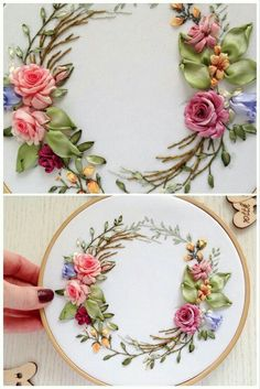 Elegant floral wreath hoop art - - Elegant floral wreath hoop art Ribbon embroidery by Otstudia Beautiful hand stitched floral wreath is silk ribbons and cotton threads embroidered wall hanging. It can make a perfect housewarming gift for friend! Embroidery Designs, Ribbon Embroidery Tutorial, Silk Ribbon Embroidery, Embroidery Hoop Art, Floral Embroidery, Embroidery Supplies, Embroidery Stitches, Embroidery Techniques, Embroidery Store