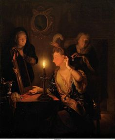 Godfried Schalcken - Lady looking in the mirror by candlelight