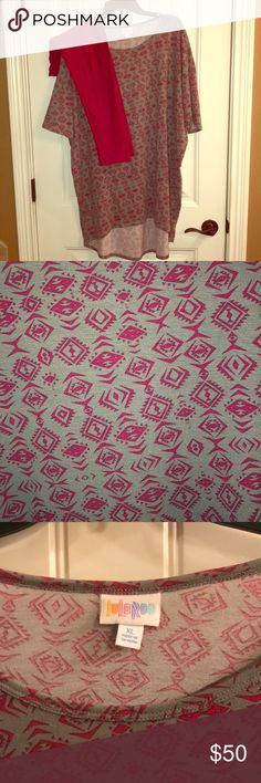 Lularoe Irma with TC leggings Lularoe Irma with TC leggings. Both are in excellent used condition. They are very comfortable and are the perfect addition to any wardrobe. The top is a gray color with a fuchsia design. The leggings are TC and are a solid fuchsia color. They have only been worn a couple of times and have been washed per LLR instructions. They come from a pet/smoke free home. LuLaRoe Tops