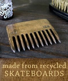 Reclaimed Wood Beard Comb by McClaren Woodshop available at Withal now. Skateboard Deck Art, Beard Tips, Handmade Cosmetics, Beard Tattoo, Hot Mess, Young Living Essential Oils, Diy Design, Thrifting, Repurposed
