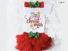 Baby's My first Christmas outfit Baby Girl Tops, Baby Girl Romper, Baby Girl Newborn, Baby Girls, Newborn Christmas, Baby Christmas Gifts, Christmas Pajamas, Christmas Sweaters, My First Christmas Outfit