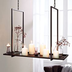 Candle Tray for Hanging - A great eye catcher! Ideal for modern presentation of candles and decoration. For hanging. Material: metal, dark brown finish.