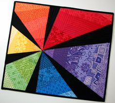 Quilted Wall Hanging , Art Quilt , Rainbow Starburst by VillageQuilts on Etsy