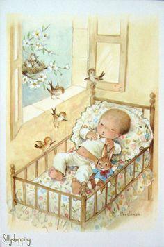 ❤️Artist ~ Constanza ~ Vintage Big Eyed Babycard