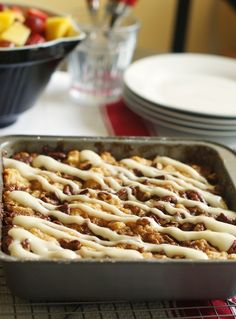 maple pecan biscuit cake with cream cheese drizzle