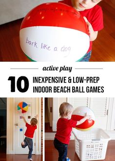 Cheap & Easy Indoor Beach Ball Games to Keep Kids Active These are such smart ideas - cheap, easy, and will help the kids burn off steam inside!These are such smart ideas - cheap, easy, and will help the kids burn off steam inside! Beach Ball Games, Beach Party Games, Kids Party Games, Kid Games, Rainy Day Activities, Indoor Activities, Preschool Activities, Preschool Indoor Games, Trains Preschool