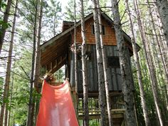 Treehouse with slide | Via Treehugger | Lloyd Alter -credit: Lynne Knowlton.