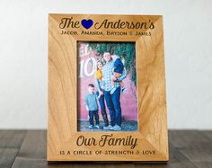 Personalized Family Picture Frame, 4x6 Photo of Family, Family Surname, Family Art for Home Decor, Wood Frame, Housewarming Gifts