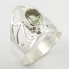 Real GREEN AMETHYST Gemstone 925 Sterling Silver Handcrafted Ring Size US 7.75