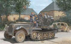 German halftrack SdKfz10 / 4, with mounted 20mm anti-aircraft gun.