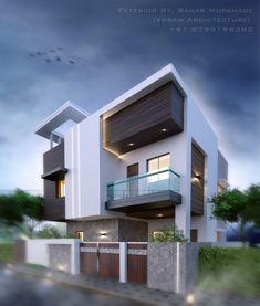 Modern bungalow Exterior  By, Sagar Morkhade  (Vdraw Architecture)  +91 8793196382