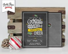 Christmas Party Invitation // Holiday Cocktail Invite // Chalkboard Style by ThePrettyPaperStudio, $17.00 CAD