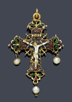 ENAMEL, GOLD AND PEARL PENDANT  17th century.